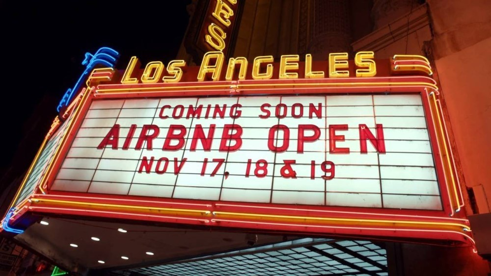 2016 Los Angeles Airbnb open announcement on a theatre