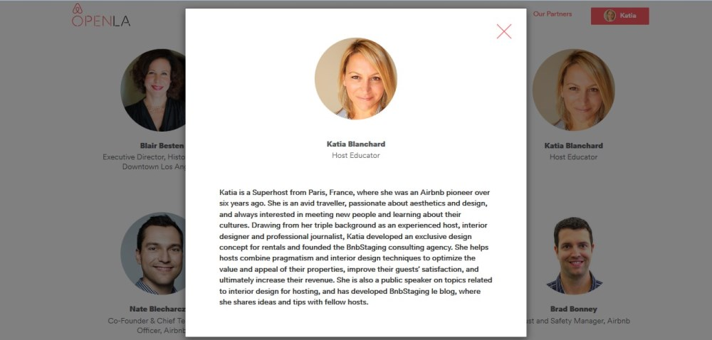 Katia Blanchard description as a speaker on airbnb website