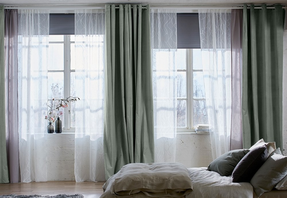 Ikea curtains in a bedroom