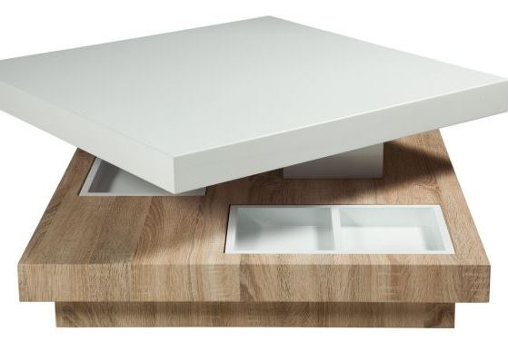 Coffee table with pivoting tray and removable storage containers