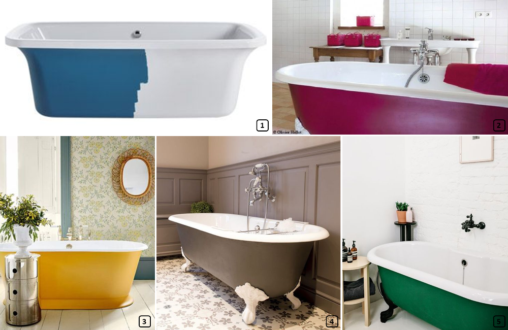 Bathtubs painted on the outisde on different colors