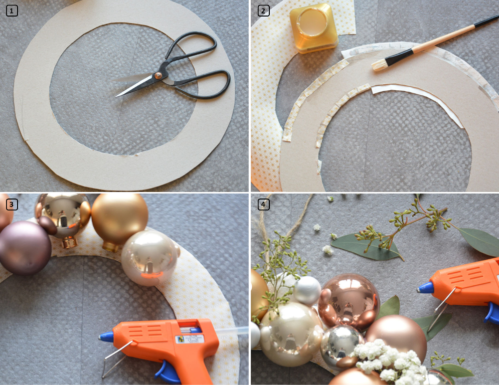 Steps for a homemade christmas wreath