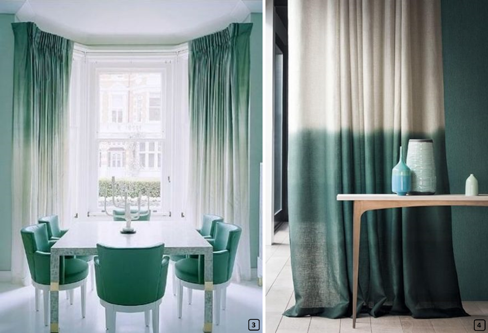 Dip dyed curtains on top and on the bottom