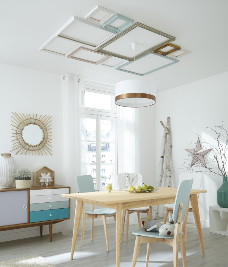 Home decor with frames on the ceiling