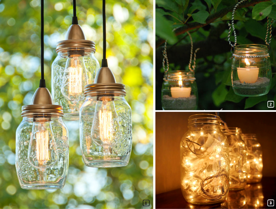 Mason jars turned into lamps