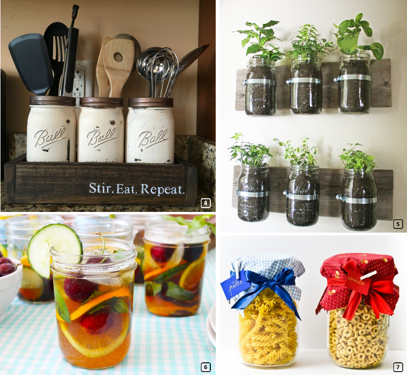 Mason jars used in the kitchen