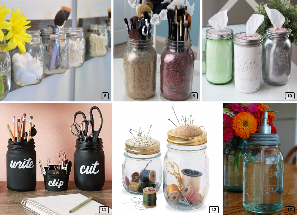 Mason jars for storage at home