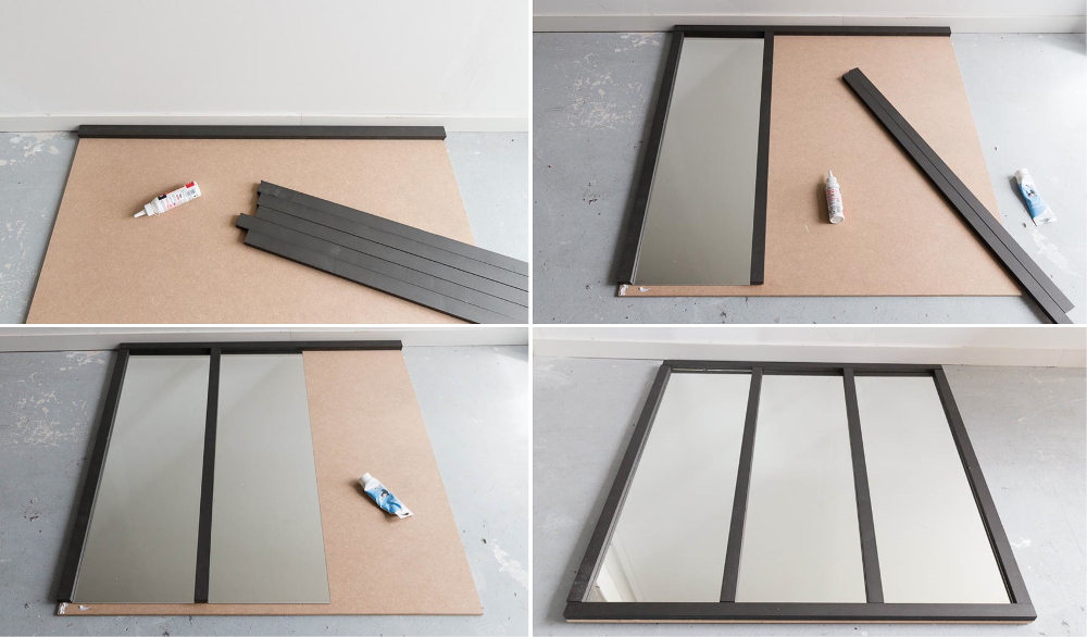 Steps for a mirror with industrial style