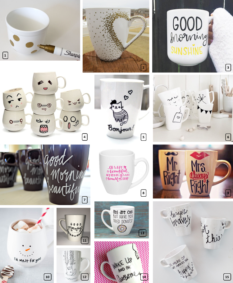Many white painted mugs on a diy project