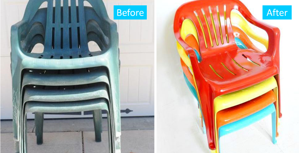 Before and after painted plastic furniture