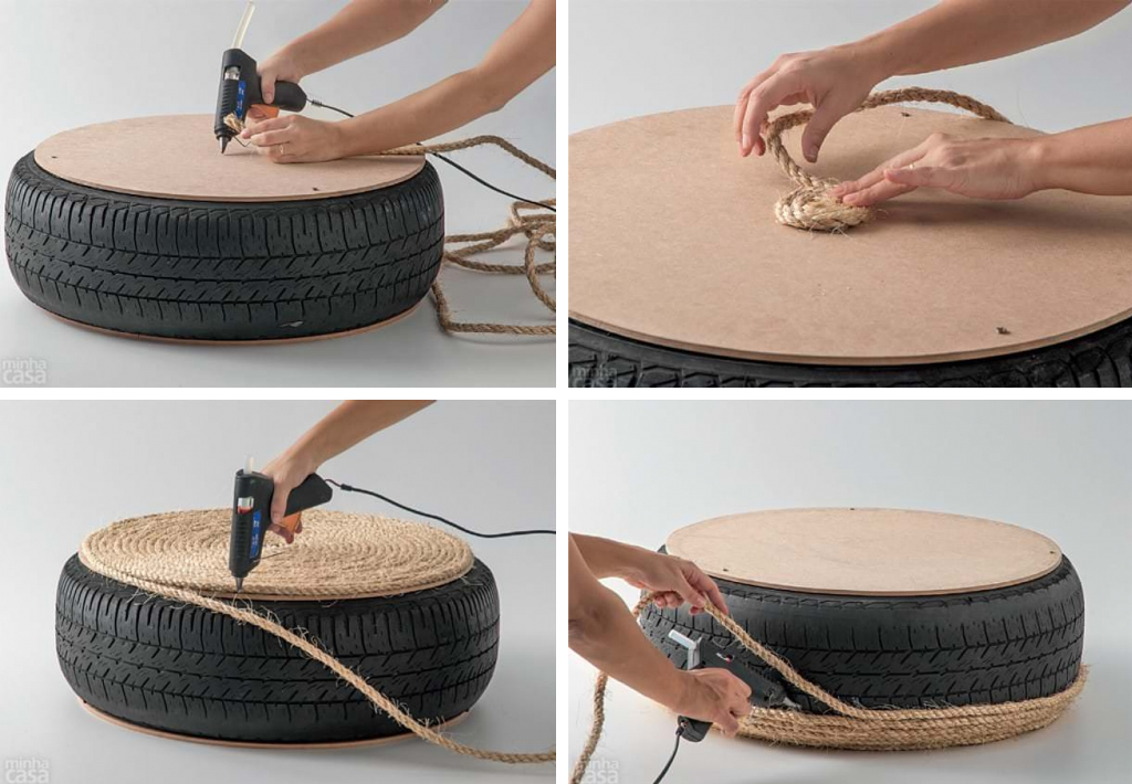 Rope ottoman project:glue the rope