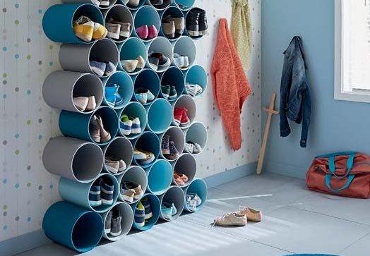 Shoe rack with PVC tubes