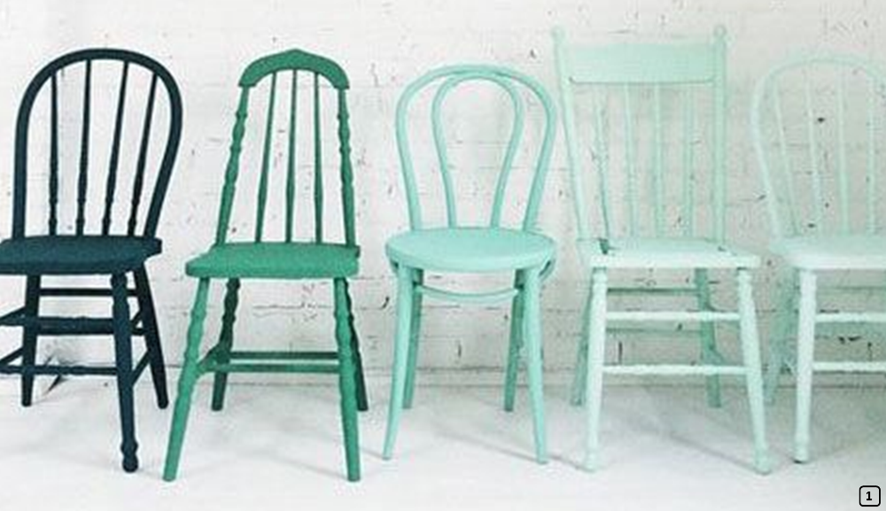 Chairs painted in green color