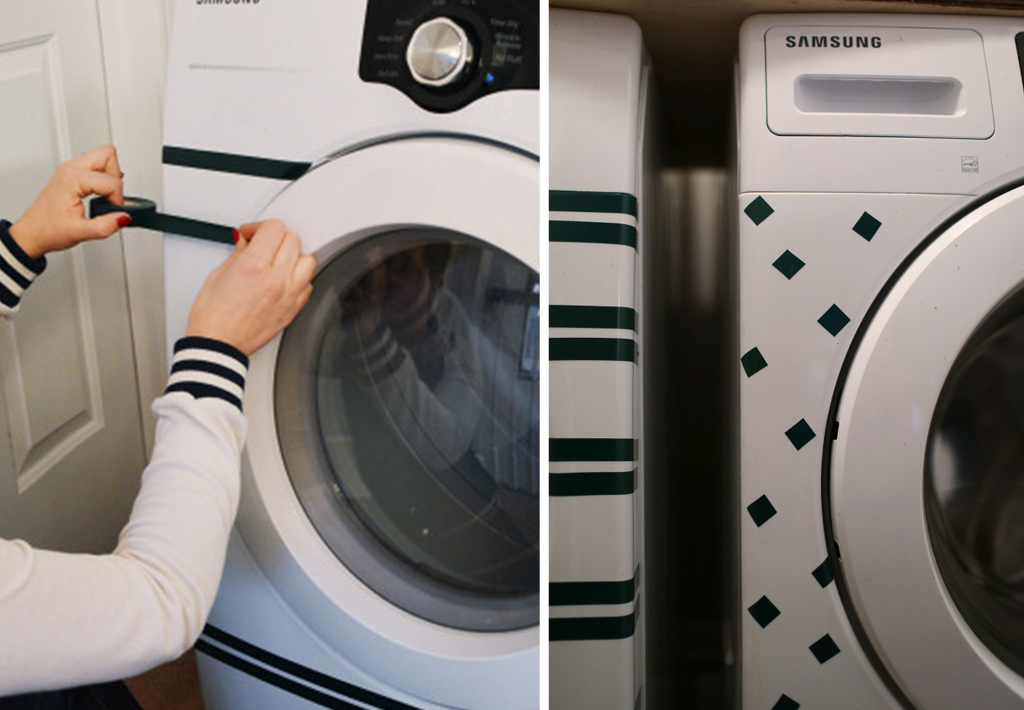 Washer and dryer DIY with black masking tape