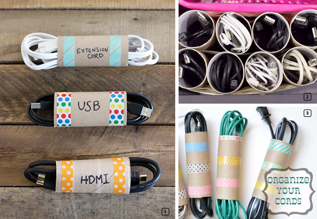 Organizing cables and cords with toilet paper rolls