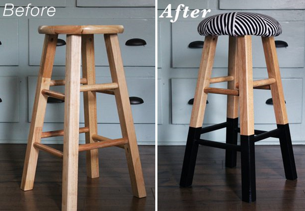 upholstery bar stool makeover diy project bnbstaging le blog. Black Bedroom Furniture Sets. Home Design Ideas