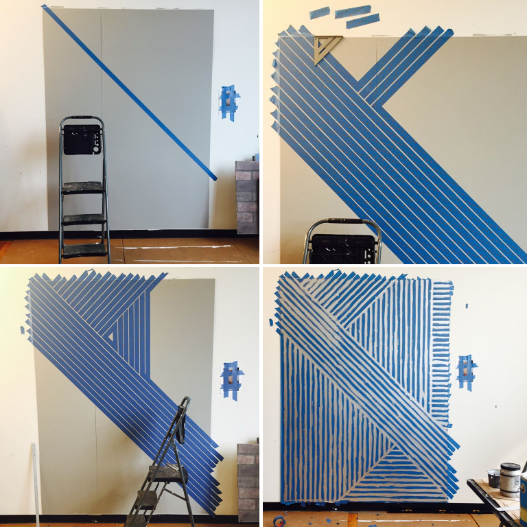 DIY steps to decorating a wall with making tape and paint