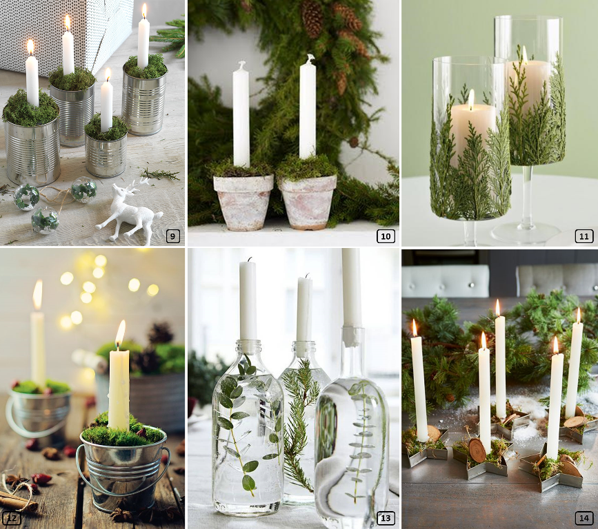 Christmas candle holders made with elements of nature