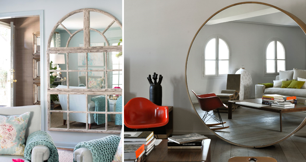 Large mirrors in living rooms to play with perspectives