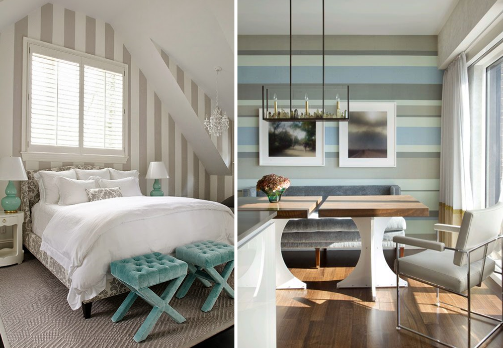 Horizontal and vertical stripes on walls
