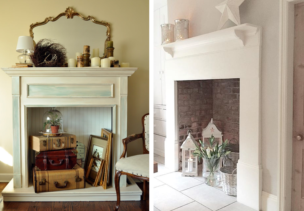 Fireplace decor with flee-market objects