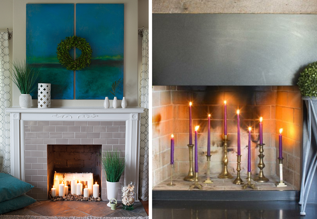 Fireplace decor with candles and candlesticks