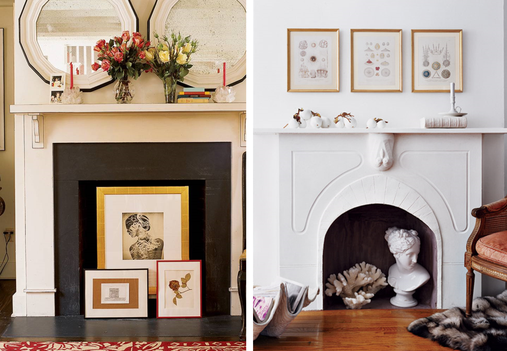 Fireplace decor with frames, woks of art...