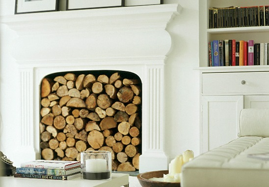 Fireplace decor with wooden logs