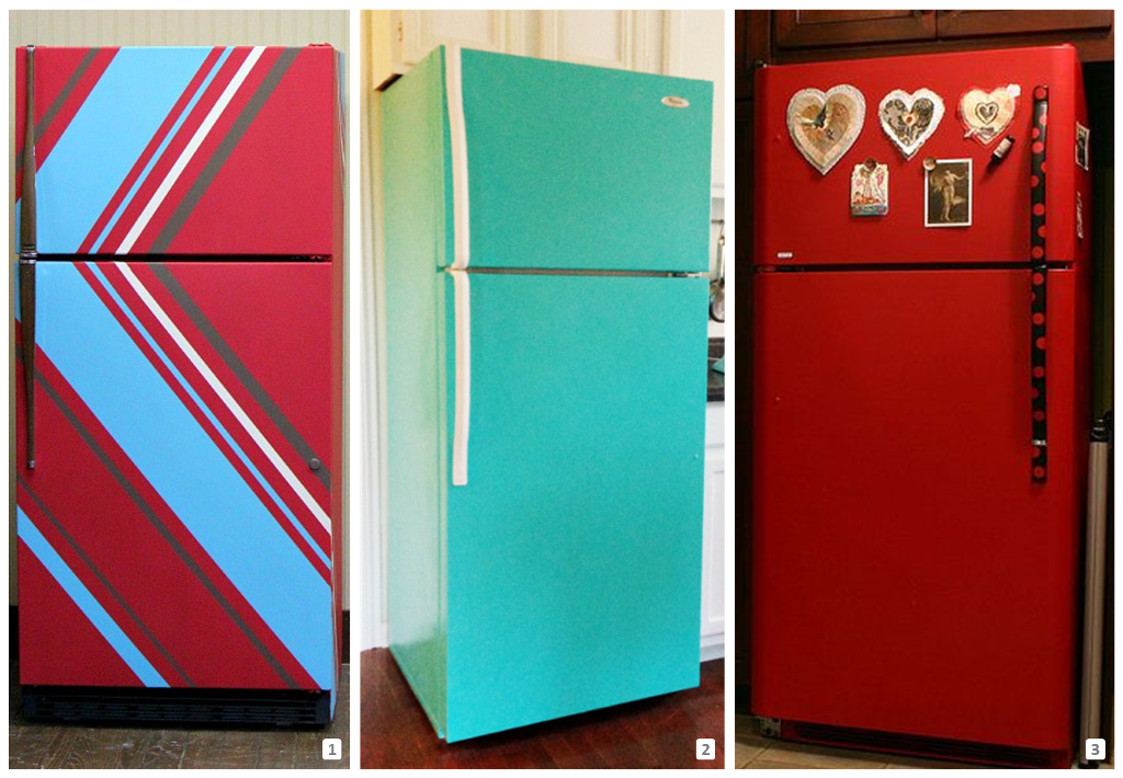 Three fridges customized with paint
