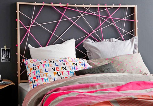 DIY headboard with ropes