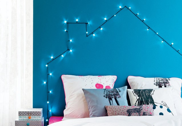 DIY headboard with a string of lights