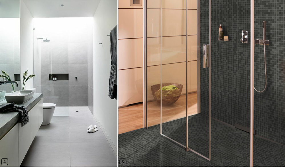 Walk-in showers with tiling and mosaic flooring