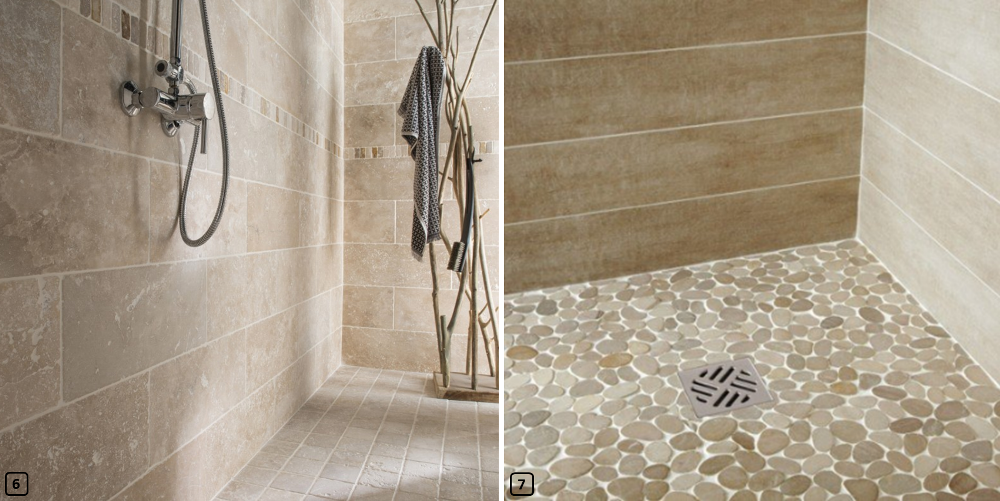 Walk-in showers with stone and pebbles flooring