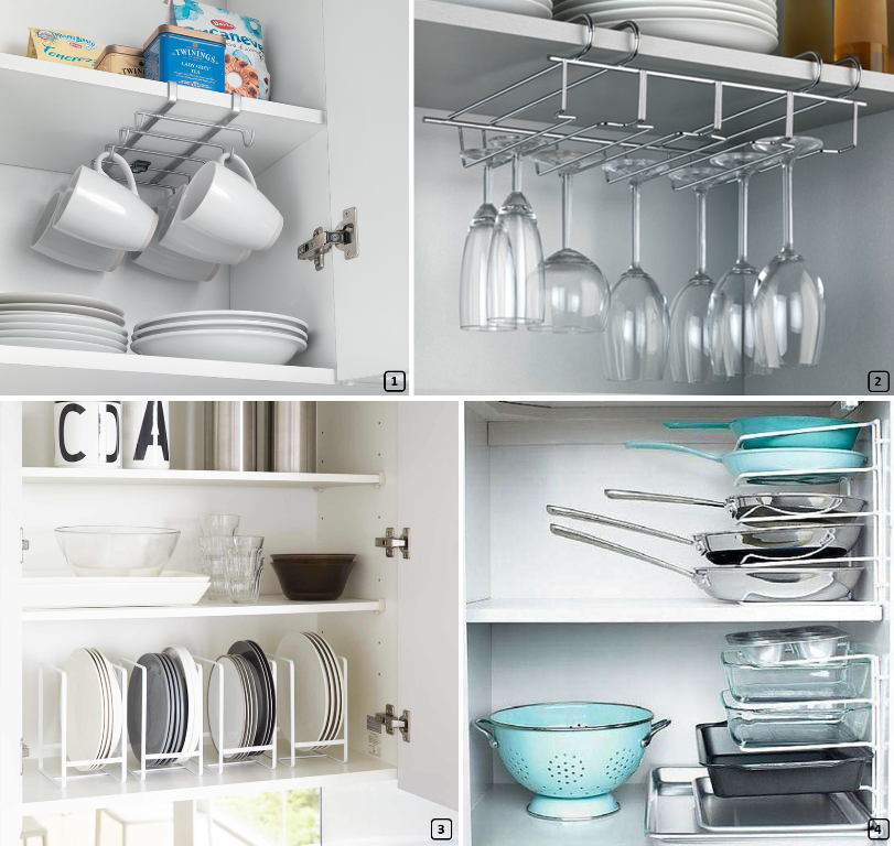 Well organized dishes in kitchen cupboards