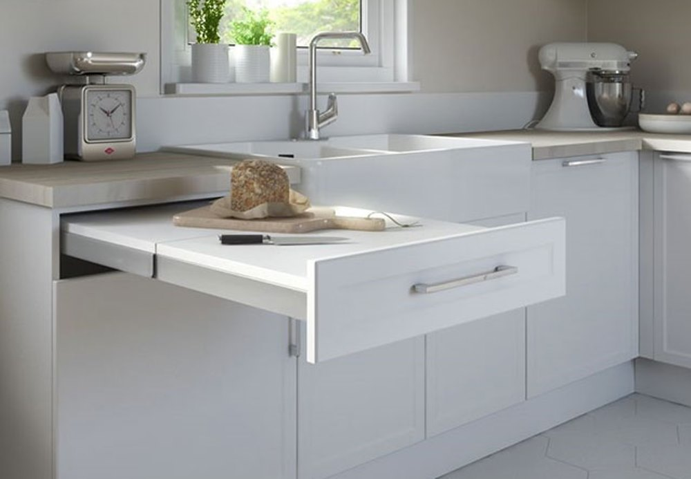 Removable drawer in the kitchen to incrase worktop surface