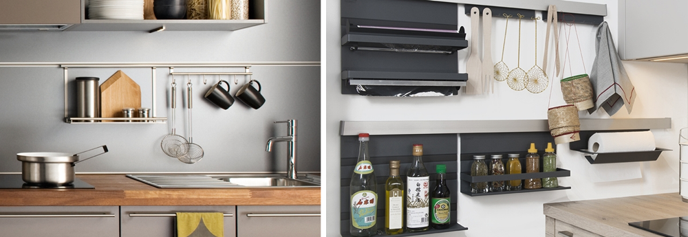 Different wall storage in the kitchen
