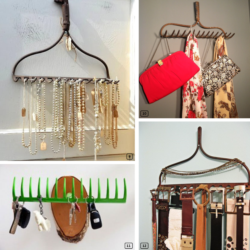 Recycling rakes to tie belts, scarves, necklaces and keys
