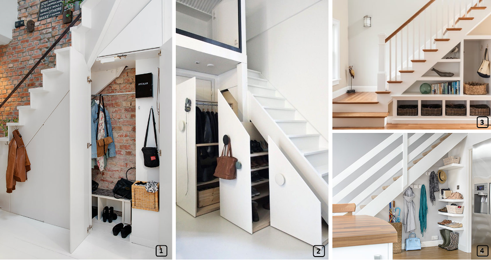 A functional entrance with storage under the stairs