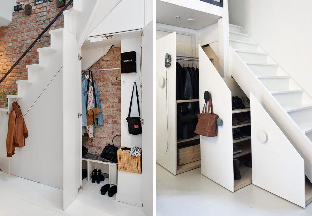 Functional entrance with storage under the staircase