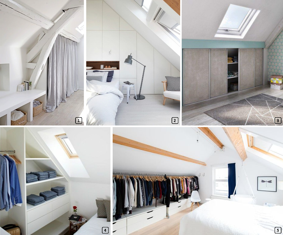 Storage solutions in a bedroom under the roof