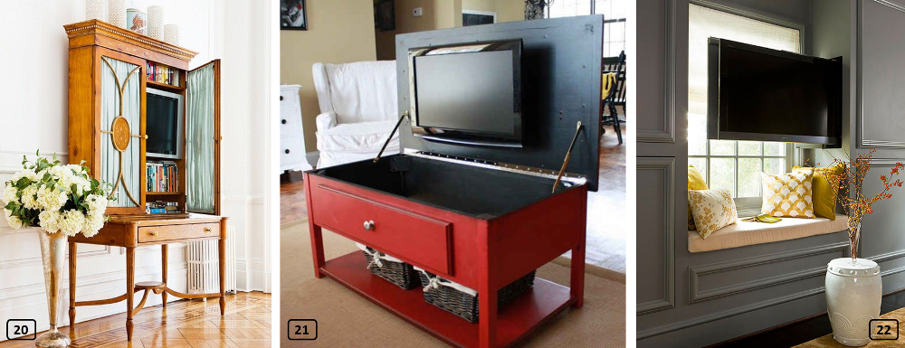 TV hidden in a piece of furniture like a secretary or a trunk