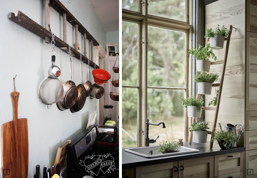 Upcycled ladders in the kitchen
