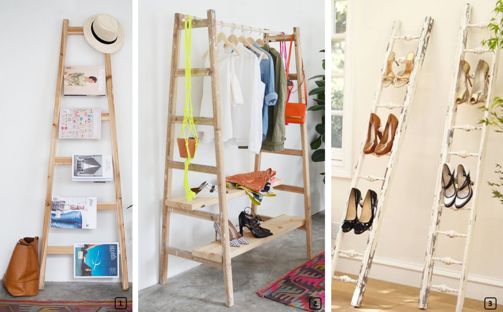 Upcycled ladders as storage for clothes, shoes and magazines