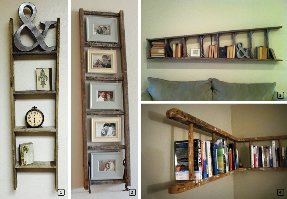 Upcycled ladders into bookshlelf and shleves