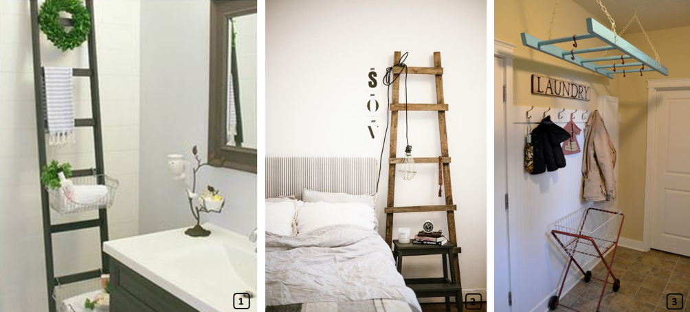 Upcycled ladders around the house