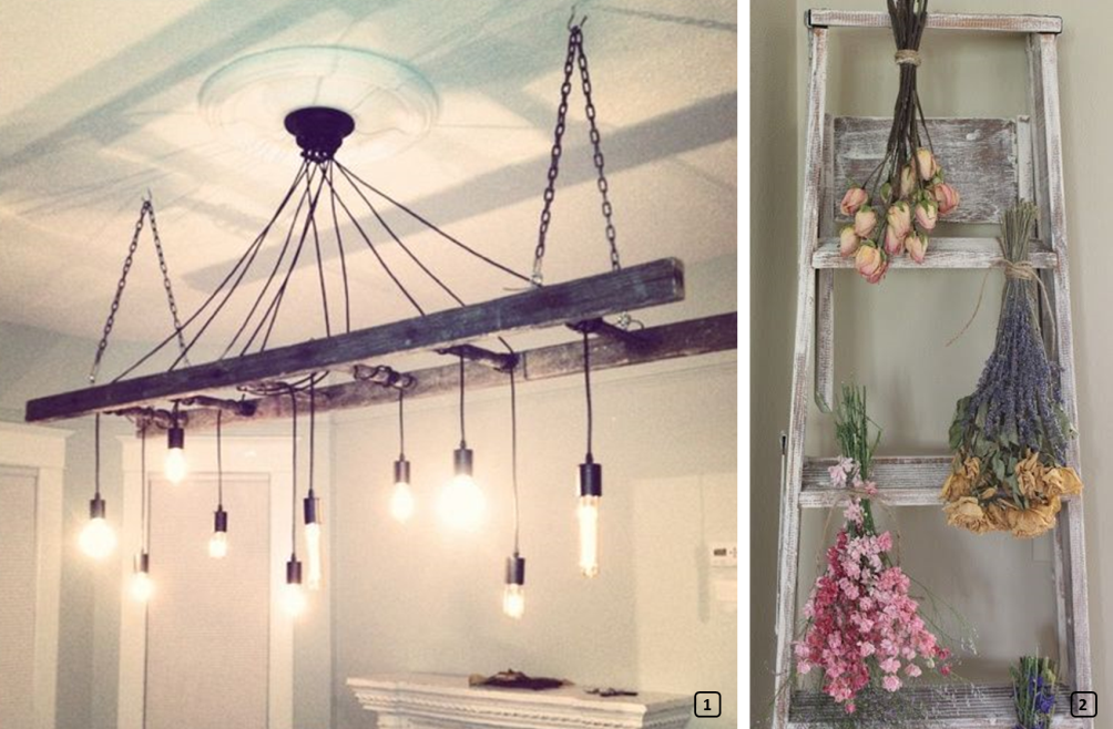 Upcycled ladders in a vintage atmosphere