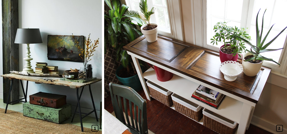 Upcycled old wooden doors as console tables