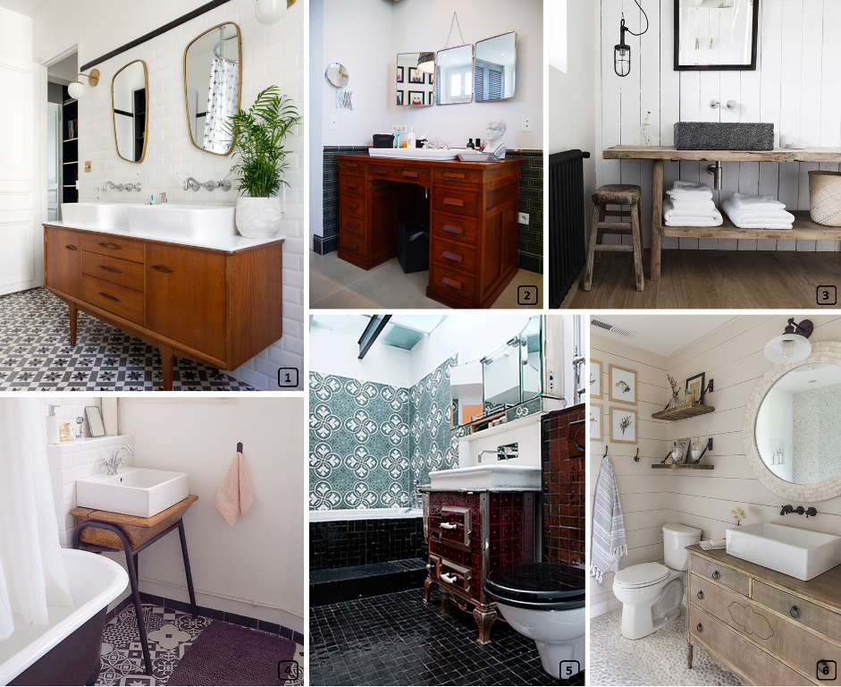 Original vanity units in bathrooms