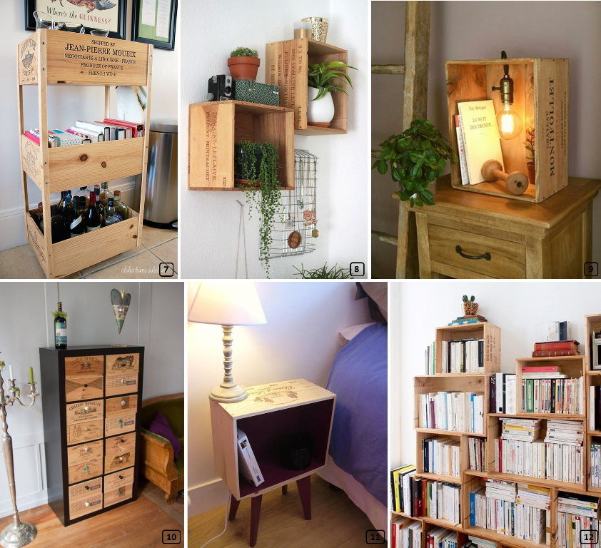 Wine crates for creating furniture in homes