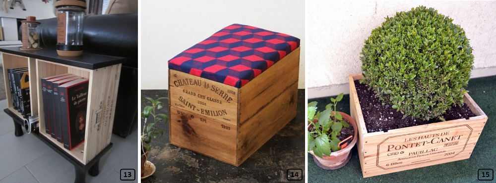 Wine crates upcycled in interior decor